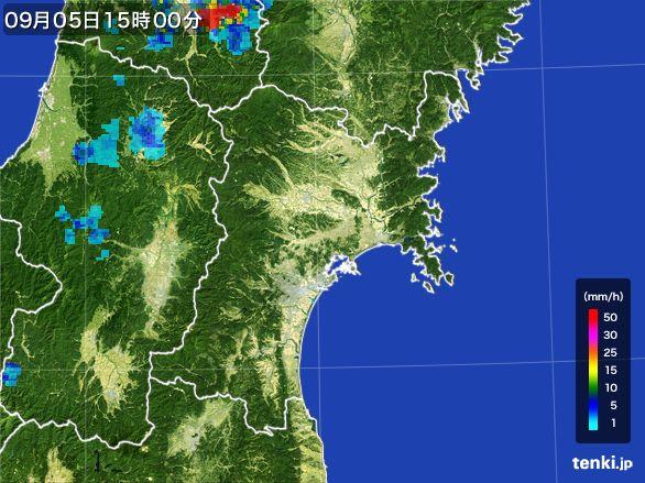 宮城県の雨雲レーダー(2016年09月05日)