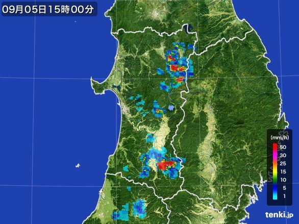 秋田県の雨雲レーダー(2016年09月05日)