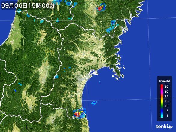 宮城県の雨雲レーダー(2016年09月06日)