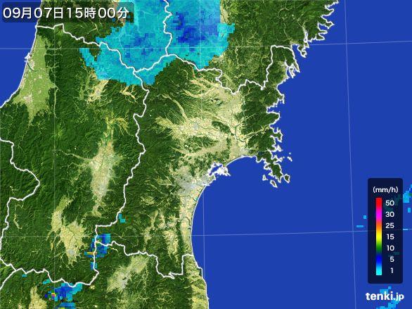 宮城県の雨雲レーダー(2016年09月07日)