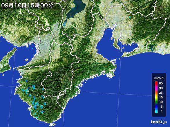 三重県の雨雲レーダー(2016年09月10日)