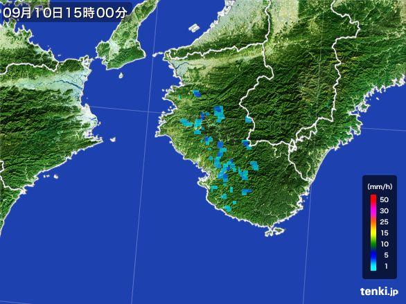 和歌山県の雨雲レーダー(2016年09月10日)