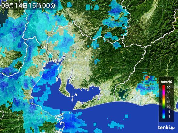 愛知県の雨雲レーダー(2016年09月14日)