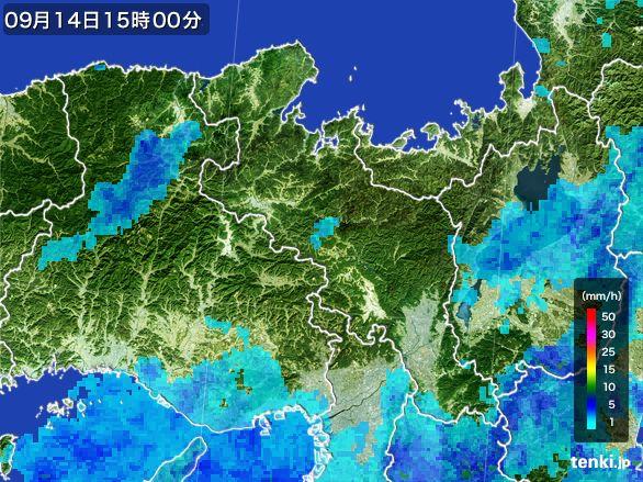 京都府の雨雲レーダー(2016年09月14日)