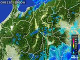 2016年09月23日の長野県の雨雲レーダー
