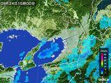 2016年09月24日の大阪府の雨雲レーダー