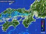 2016年09月25日の近畿地方の雨雲レーダー