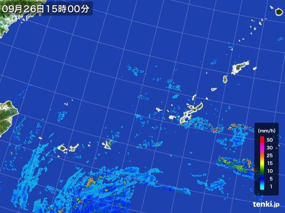 沖縄地方の雨雲レーダー(2016年09月26日)