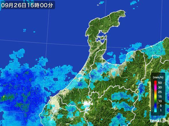 石川県の雨雲レーダー(2016年09月26日)