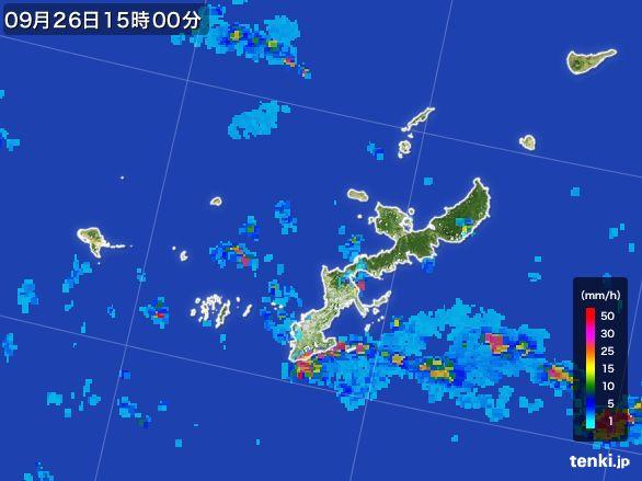沖縄県の雨雲レーダー(2016年09月26日)