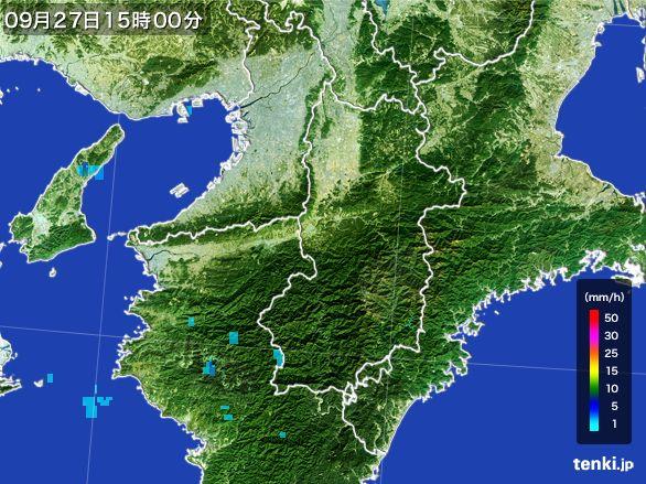 奈良県の雨雲レーダー(2016年09月27日)