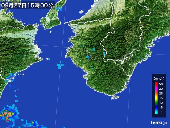 和歌山県の雨雲レーダー(2016年09月27日)