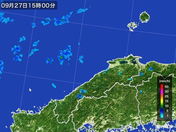 島根県の雨雲レーダー(2016年09月27日)