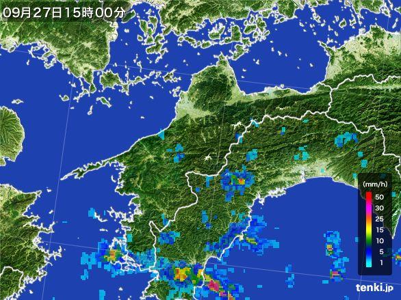 愛媛県の雨雲レーダー(2016年09月27日)