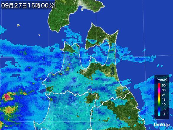 青森県の雨雲レーダー(2016年09月27日)