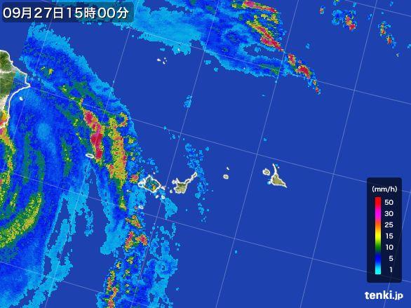 宮古島・石垣・与那国(沖縄県)の雨雲レーダー(2016年09月27日)