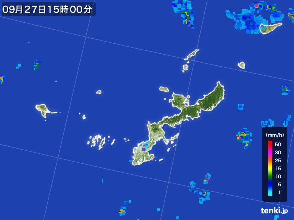 沖縄県の雨雲レーダー(2016年09月27日)