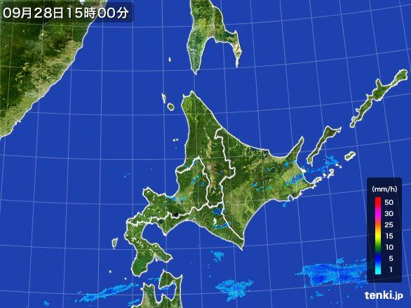 北海道地方の雨雲レーダー(2016年09月28日)