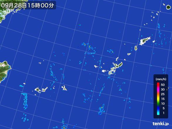 沖縄地方の雨雲レーダー(2016年09月28日)