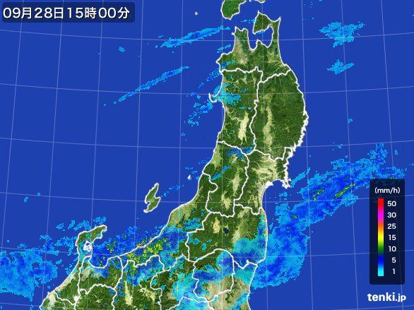 東北地方の雨雲レーダー(2016年09月28日)