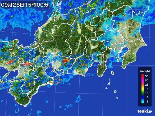 東海地方の雨雲レーダー(2016年09月28日)
