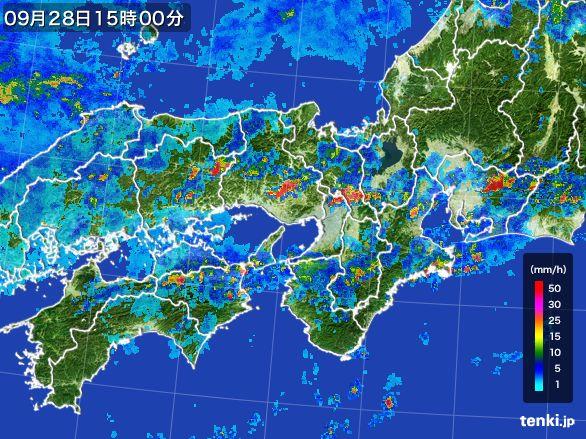近畿地方の雨雲レーダー(2016年09月28日)