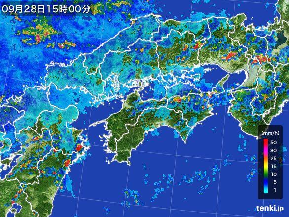 四国地方の雨雲レーダー(2016年09月28日)