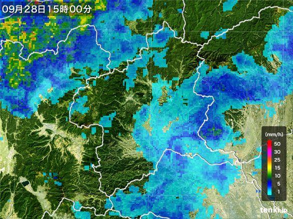 群馬県の雨雲レーダー(2016年09月28日)