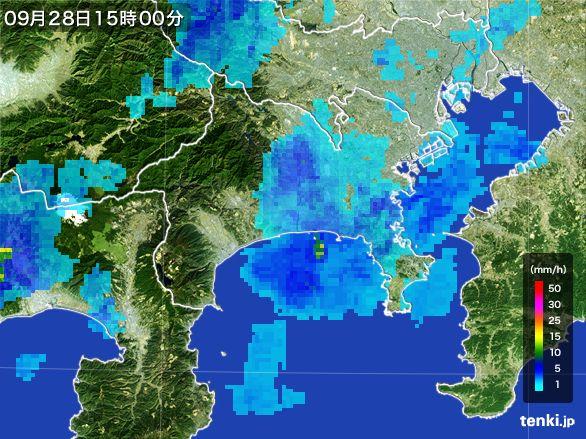 神奈川県の雨雲レーダー(2016年09月28日)
