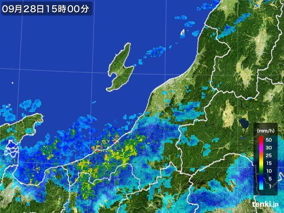 新潟県の雨雲レーダー(2016年09月28日)