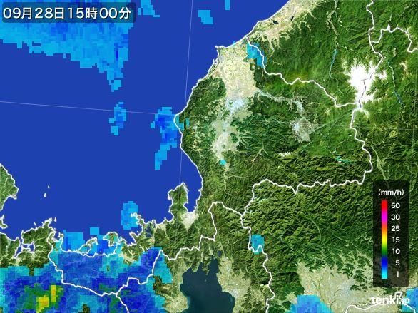 福井県の雨雲レーダー(2016年09月28日)