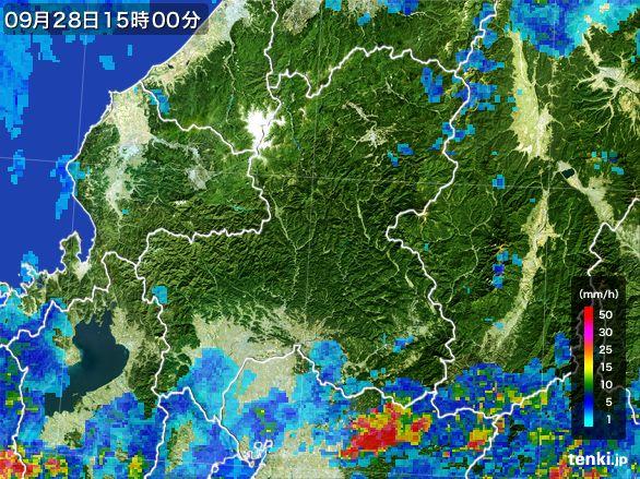 岐阜県の雨雲レーダー(2016年09月28日)