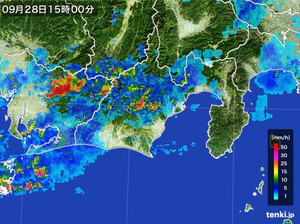 静岡県の雨雲レーダー(2016年09月28日)