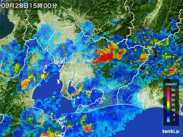 愛知県の雨雲レーダー(2016年09月28日)