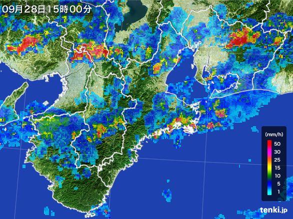 三重県の雨雲レーダー(2016年09月28日)