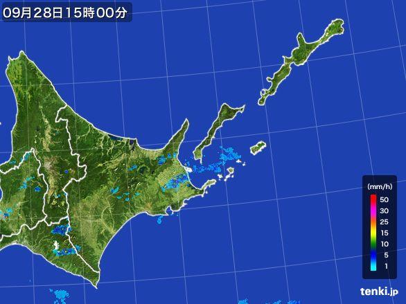 道東の雨雲レーダー(2016年09月28日)