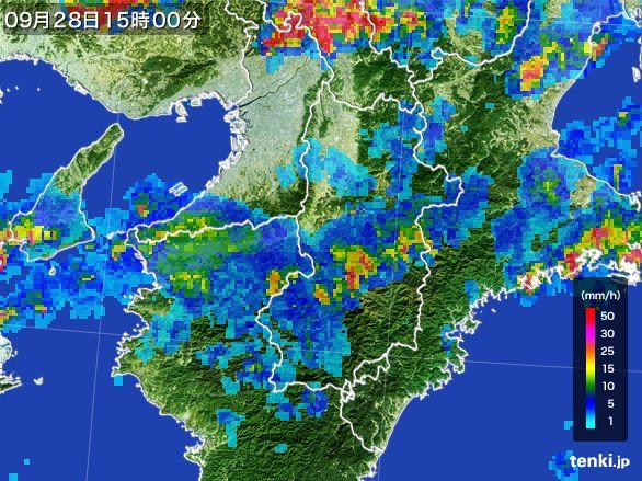 奈良県の雨雲レーダー(2016年09月28日)