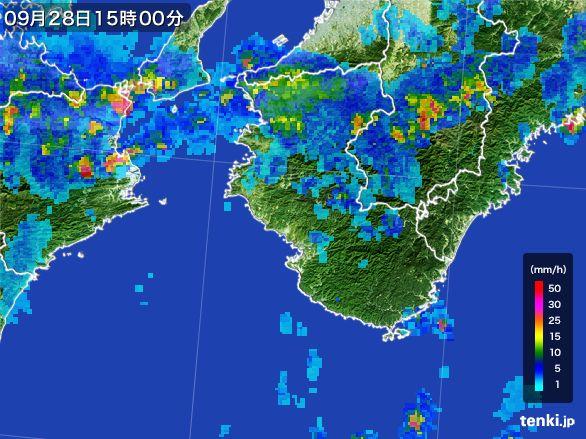 和歌山県の雨雲レーダー(2016年09月28日)