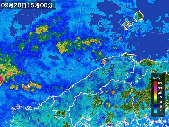 島根県の雨雲レーダー(2016年09月28日)