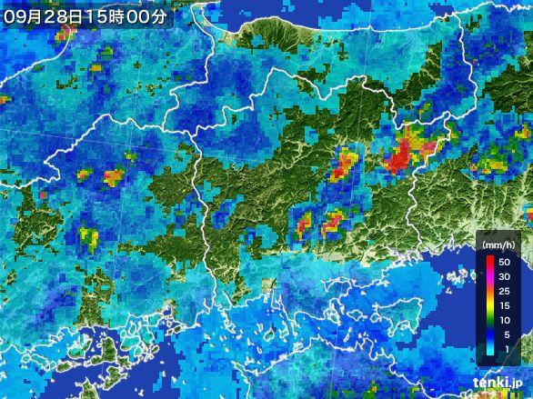 岡山県の雨雲レーダー(2016年09月28日)