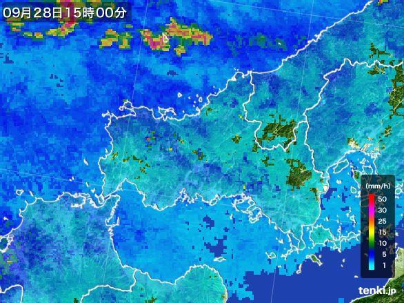 山口県の雨雲レーダー(2016年09月28日)