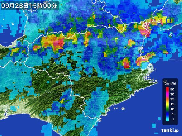 徳島県の雨雲レーダー(2016年09月28日)