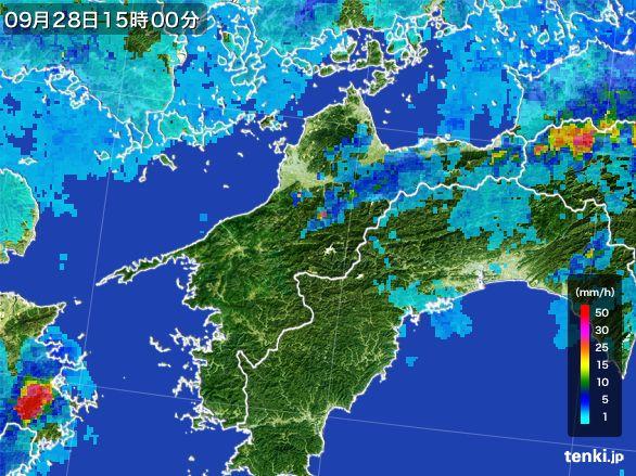 愛媛県の雨雲レーダー(2016年09月28日)