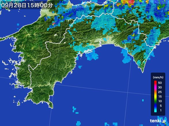 高知県の雨雲レーダー(2016年09月28日)