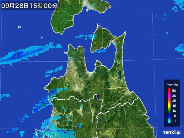 青森県の雨雲レーダー(2016年09月28日)