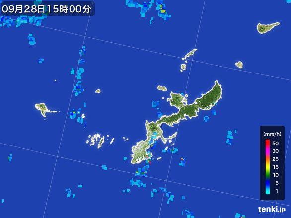 沖縄県の雨雲レーダー(2016年09月28日)