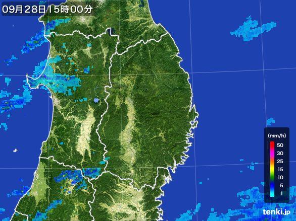 岩手県の雨雲レーダー(2016年09月28日)