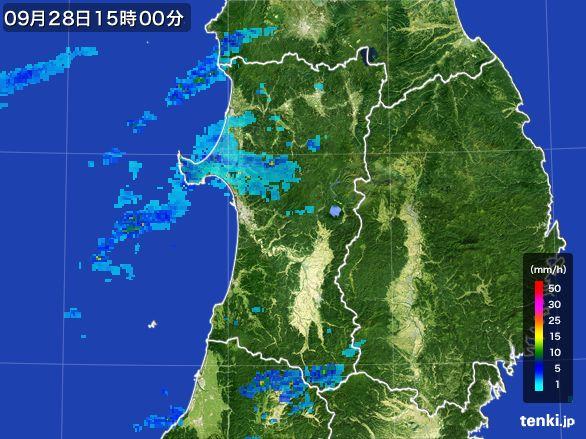 秋田県の雨雲レーダー(2016年09月28日)