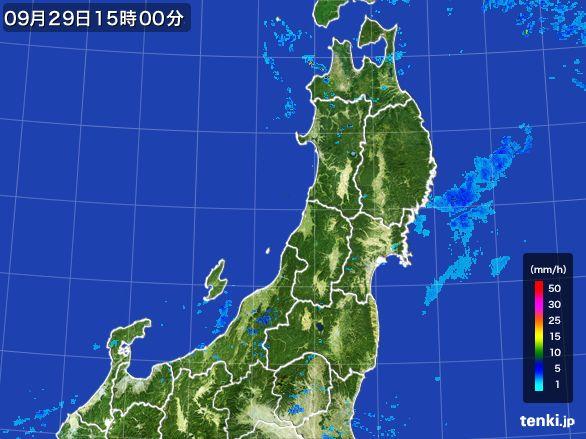 東北地方の雨雲レーダー(2016年09月29日)