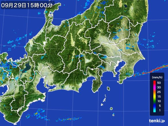 関東・甲信地方の雨雲レーダー(2016年09月29日)
